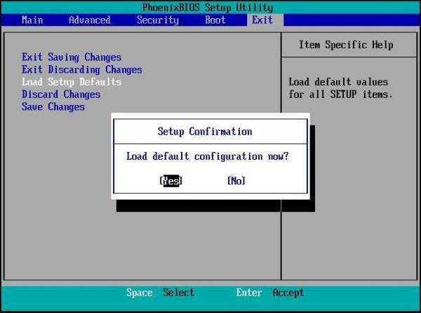 Phoenixbios setup utility exit menu
