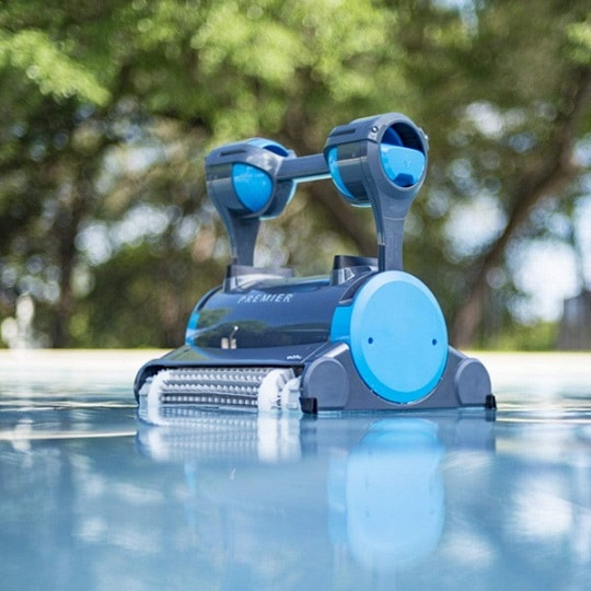 Dolphin robotic pool cleaner in ground