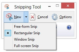 Snipping tool Mode Selection for Screen Capture