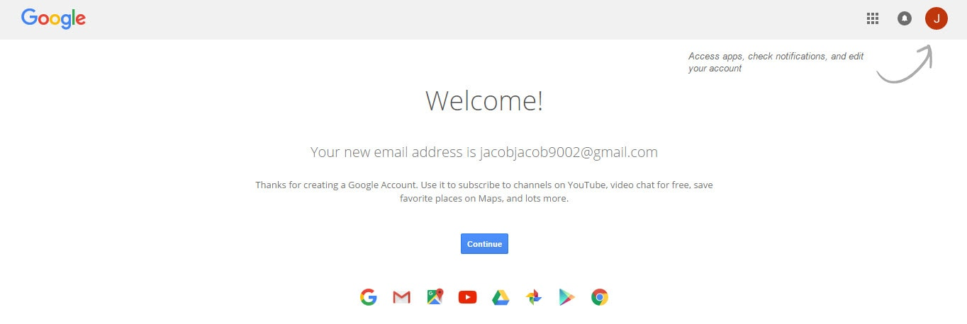 Google Account Creation Successful