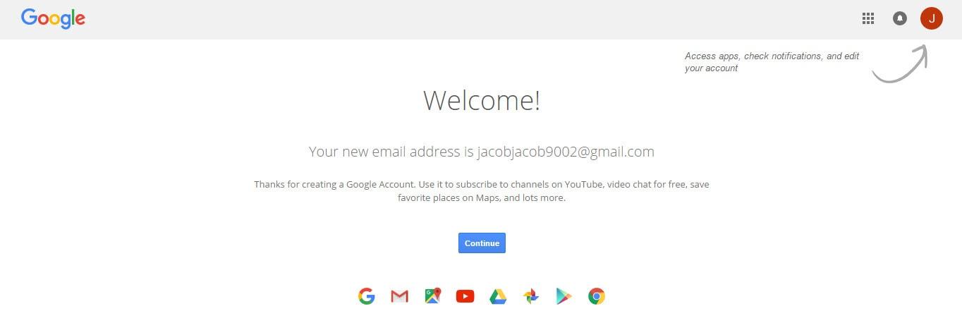 Google Account Creation Successful