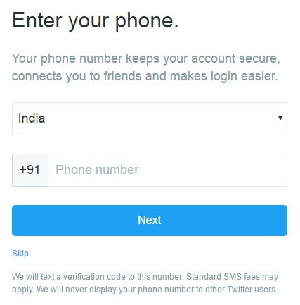 Twitter Mobile Number Asking Page