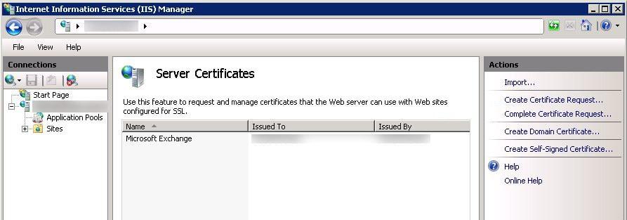 Complete Certificate Request IIS7