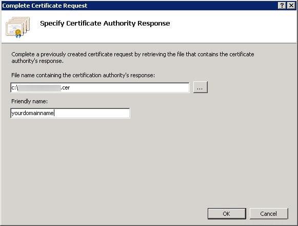 Complete Certificate Request Screen