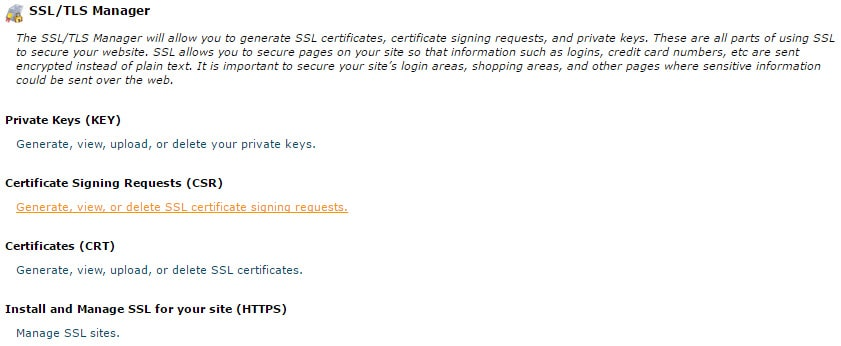 Generate, view, or delete SSL certificate signing requests