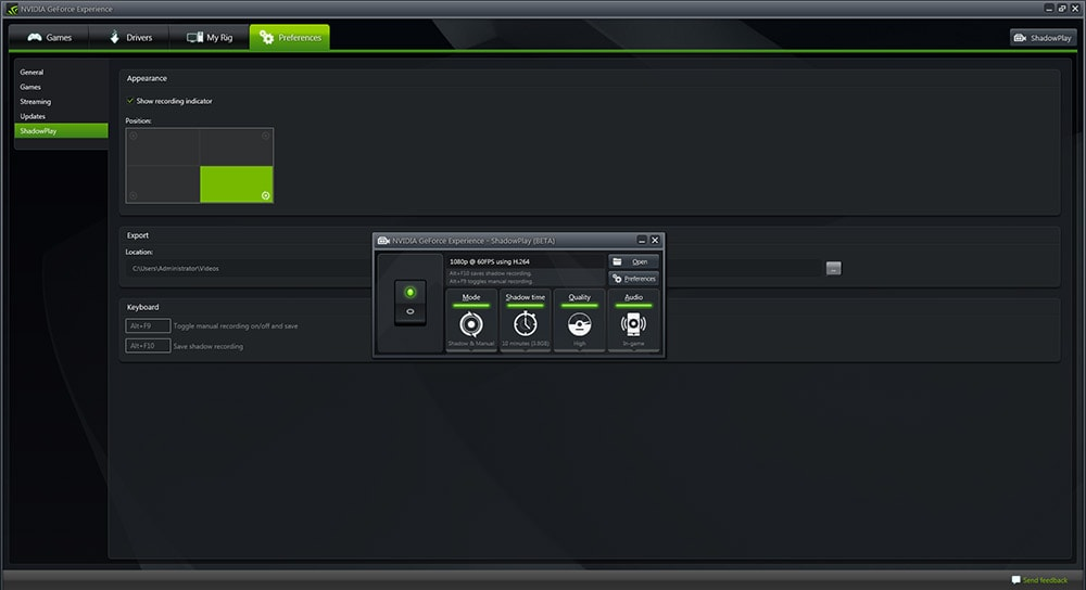 Nvidia Geforce Experience ShadowPlay