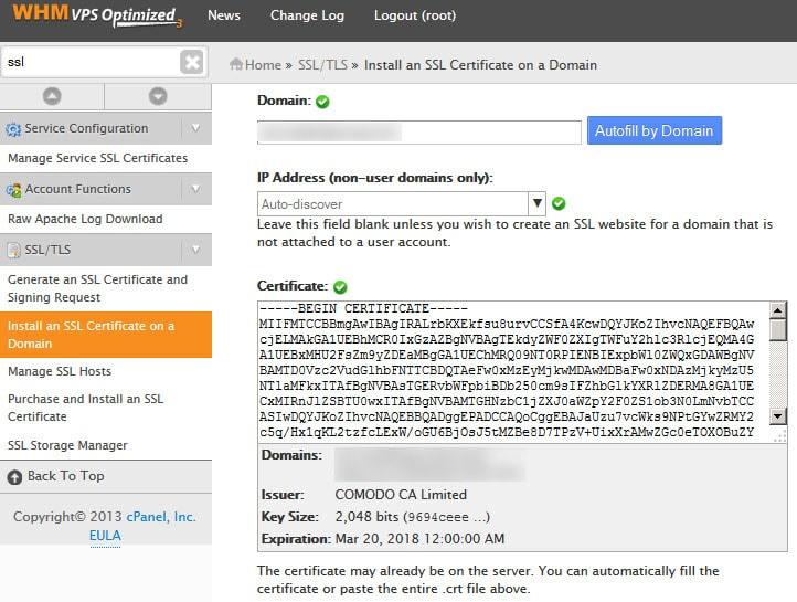 WHM SSL Installation