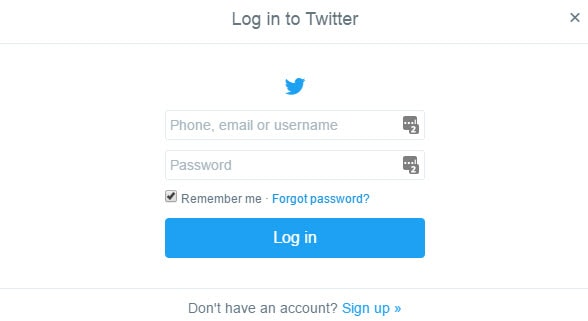 Login to Twitter for Deactivation
