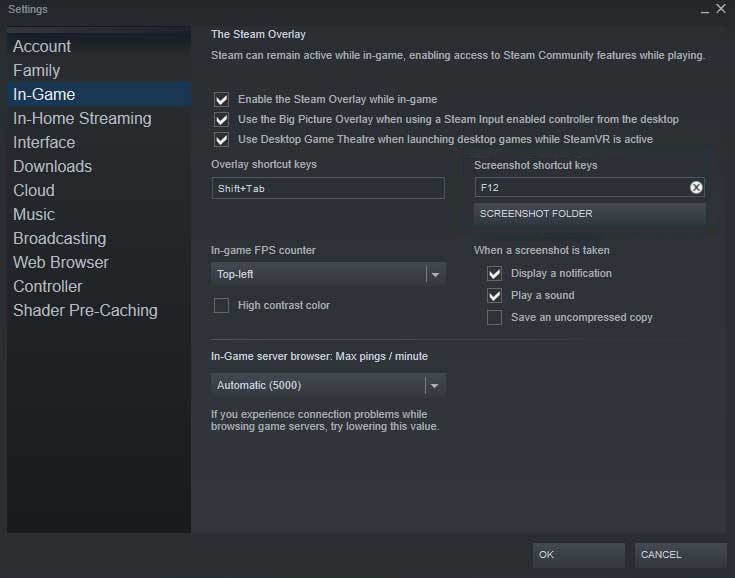 Steam Screenshot Shortcut Settings