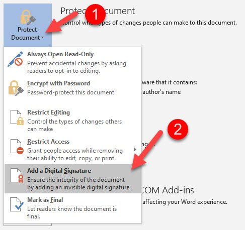Protect Document Button Microsoft Word