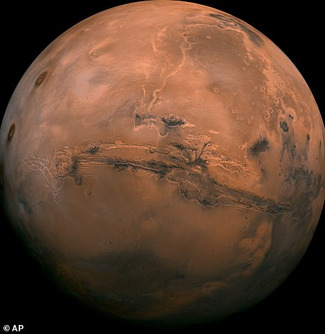 This composite photo was created from over 100 images of Mars taken by Viking Orbiters in the 1970s