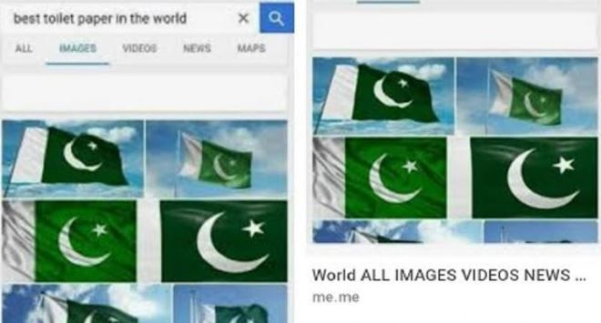 Google shows Pakistan flag when searched for 'toilet paper' - India