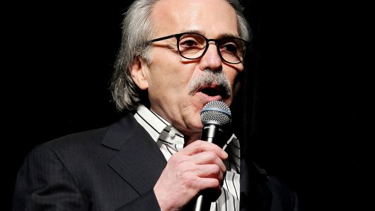 David Pecker, Chairman and CEO of American Media speaks in New York City, January 31, 2014.