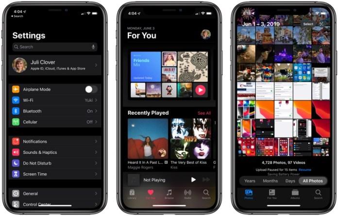 iPhone iOS 13 Dark Mode