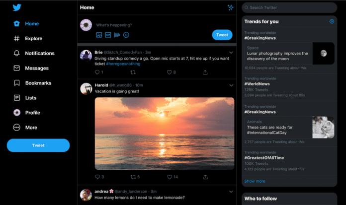 Twitter for web -- dark mode