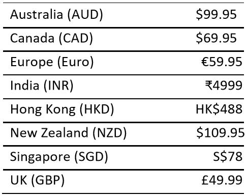 Fitbit Aria Air international pricing