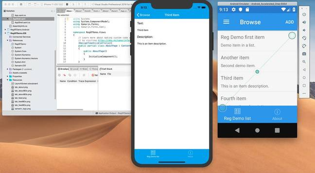 A cross-platform Xamarin Forms app running on iOS and Android