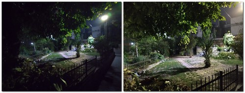The Night mode photo (R) brings significant improvement as compared to the non-night mode photo (L) but details are still lacking.