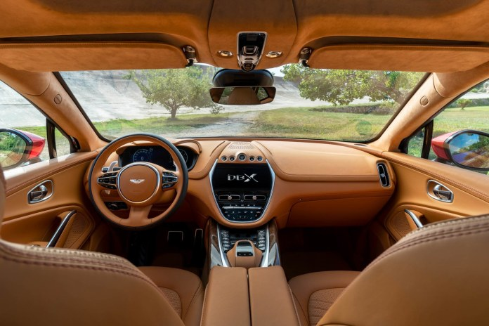 Brown leather interior of an Aston Martin SUV