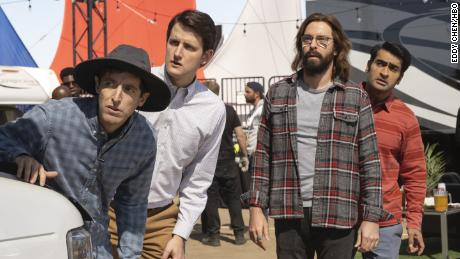 """Thomas Middleditch, Zach Woods, Martin Starr and Kumail Nanjiani in an episode of HBO's """"Silicon Valley."""""""