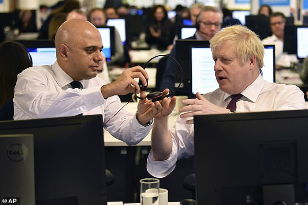 Eventually, after Mr Johnson seems unable to make the computer work, Mr Javid decides to take hold of the situation and calls a potential voter himself