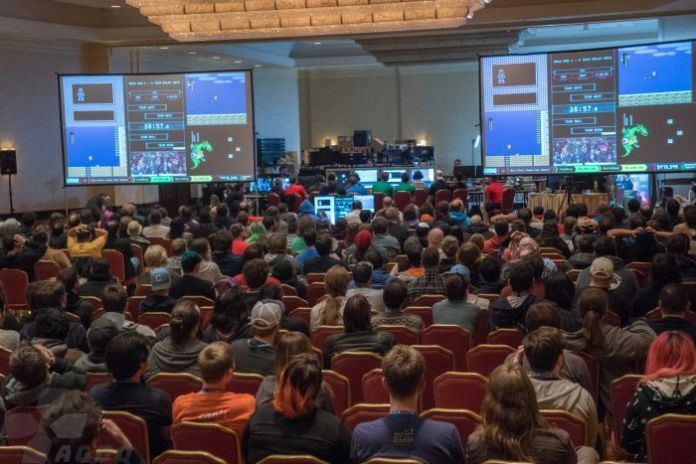 The crowd watches the action at the Awesome Games Done Quick 2018 event