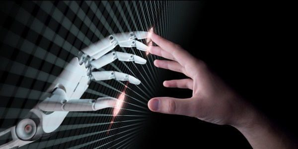 Hands of Robot and Human Touching. Virtual Reality or Artificial Intelligence Technology Concept 3d Illustration; Shutterstock ID 651441421; Purchase Order: -