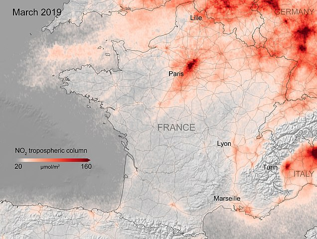 This image shows NO2 levels over France in March 2019