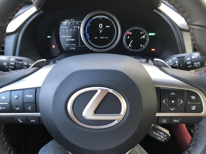 2020 Lexus RX450h steering wheel and dashboard