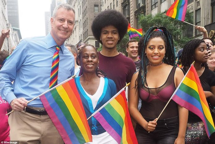 De Blasio didn't mentioned Chiara's arrest during either of the two press conferences he held on Sunday. The mayor is pictured with his wife Chirlane McCray, son Dante and daughter Chiara at the New York City Pride Parade in 2015