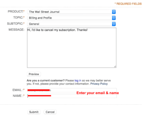 how to cancel wall street journal subscription