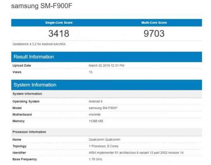 Samsung Galaxy Fold Geebench