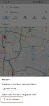 Google Maps Off route Alert