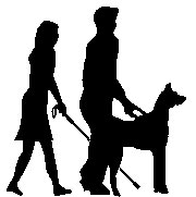 A visually impaired lady with a guide dog