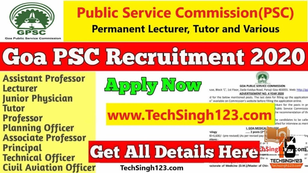 Goa PSC Recruitment 2020 Lecturer, Tutor and Various