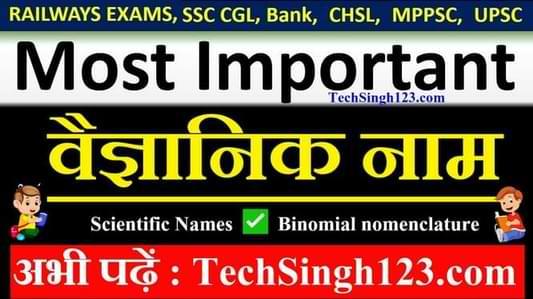 Scientific Names वैज्ञानिक नाम Binomial nomenclature