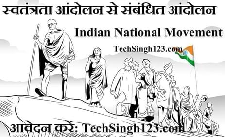 Indian National Movement स्वतंत्रता आंदोलन से संबंधित आंदोलन एवं वर्ष
