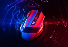 Wireless gaming mouse with red and blue design