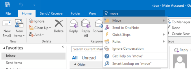 The Tell Me box in Outlook - www.office.com/setup