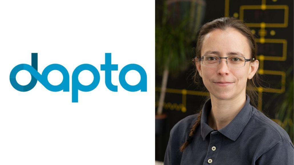 Dapta logo with photo of Olivia