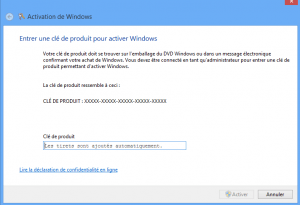 Rentrer ou modifier sa clé Windows 8 - Boite de dialogue Windows 8