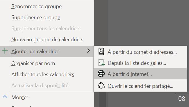 Ajout du calendrier Office 365 dans Outlook
