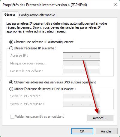 Modifier les paramètres avancés de la carte réseau