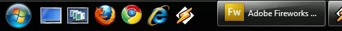 Windows 7 using the traditional taskbar with quick launch buttons
