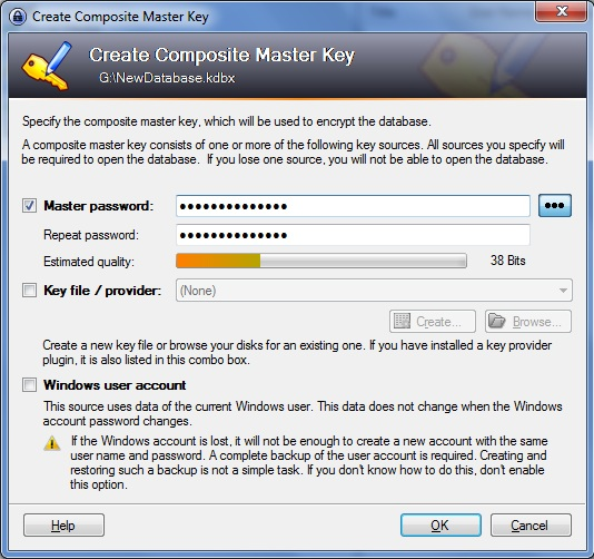 Setting up KeePass Screenshot 1