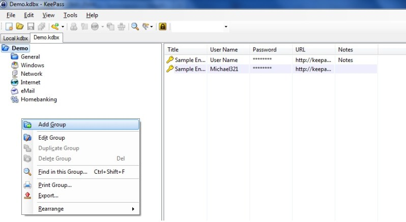 Setting up KeePass Screenshot 3