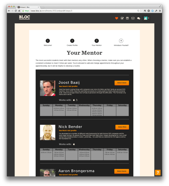 A screenshot of bloc's mentor's webpage