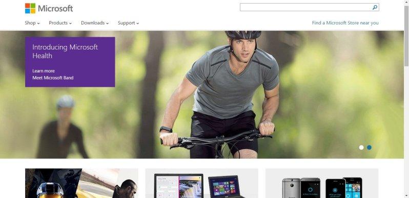 Microsoft's website in 2014