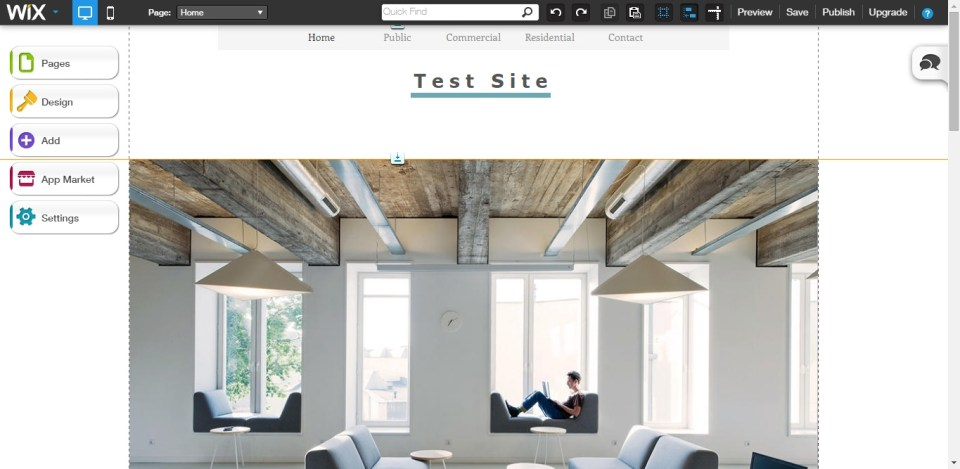 Wix's website builder's editing page