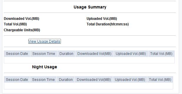 view BSNL Broadband Usage